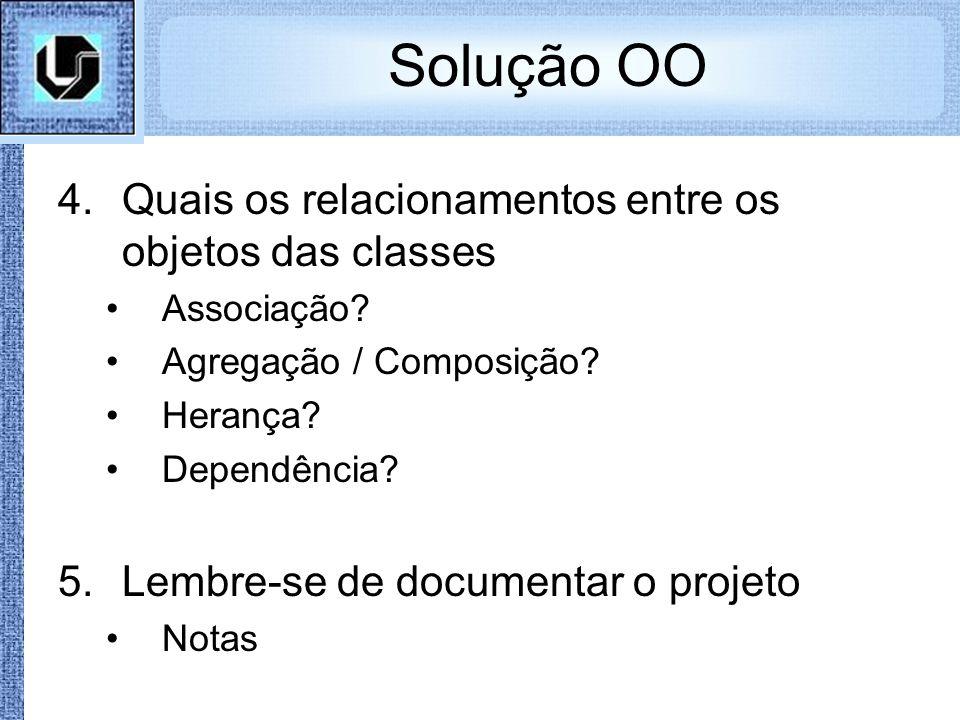 Solução OO Quais os relacionamentos entre os objetos das classes