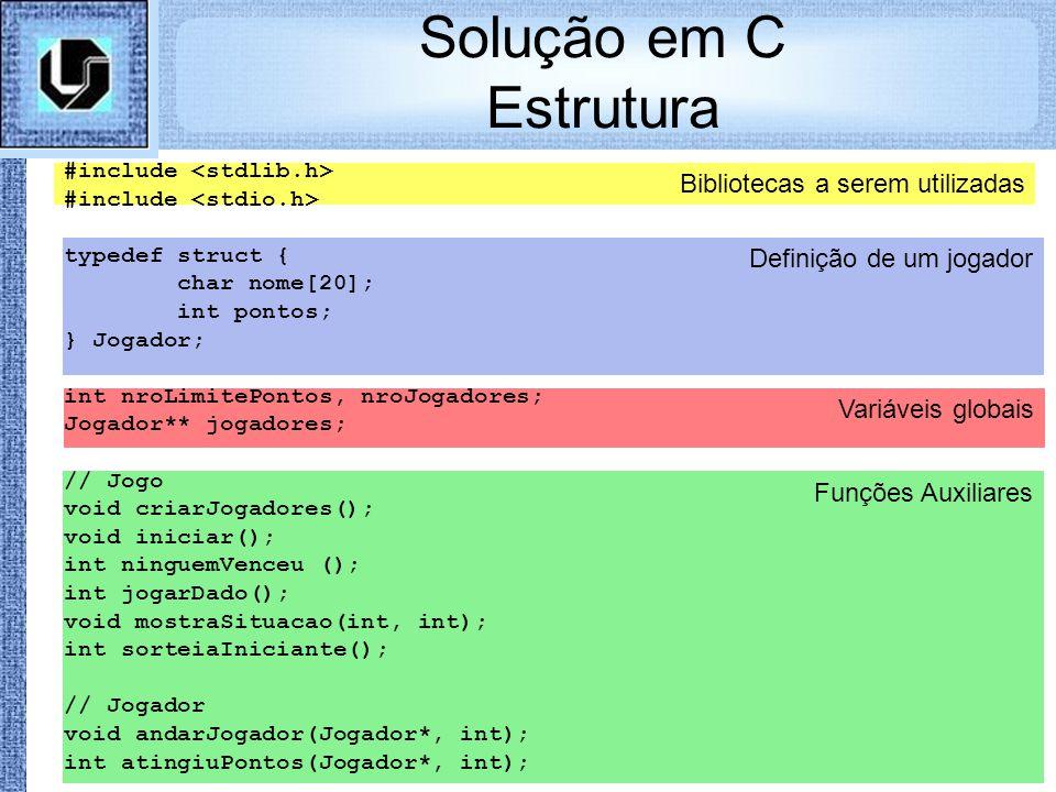 Solução em C Estrutura Bibliotecas a serem utilizadas