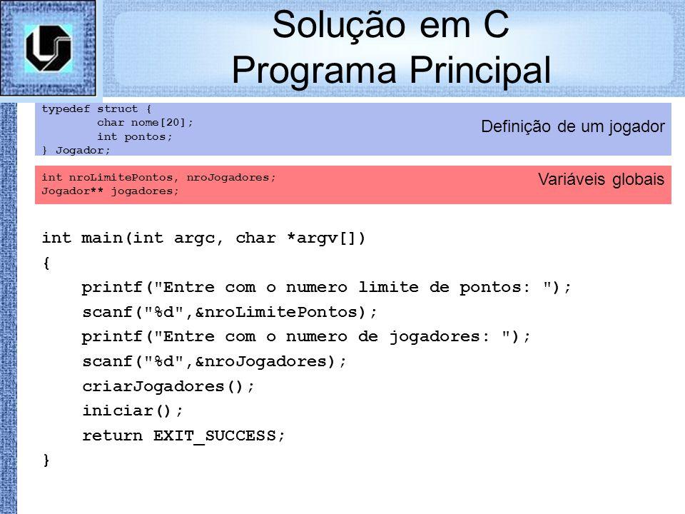 Solução em C Programa Principal