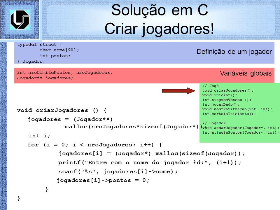 Solução em C Criar jogadores!