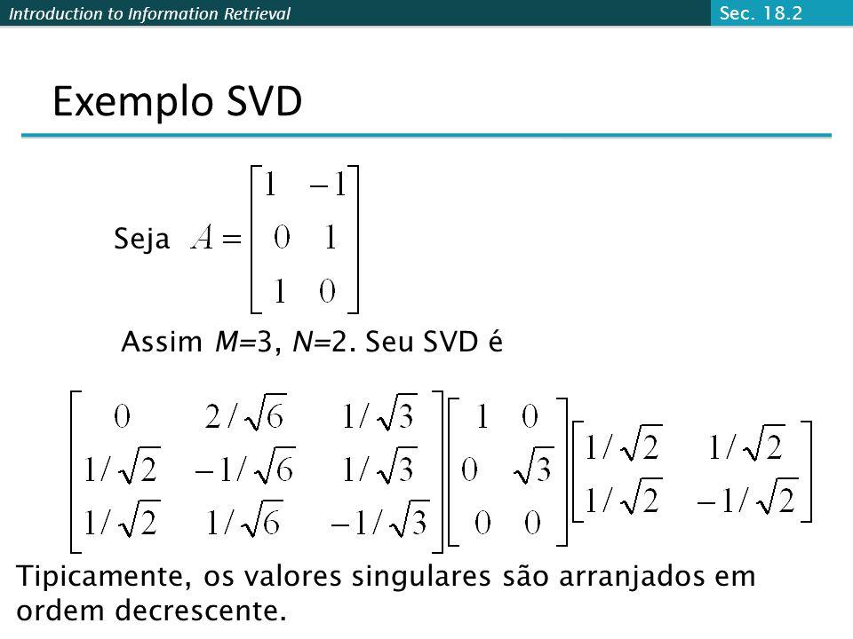Exemplo SVD Seja Assim M=3, N=2. Seu SVD é