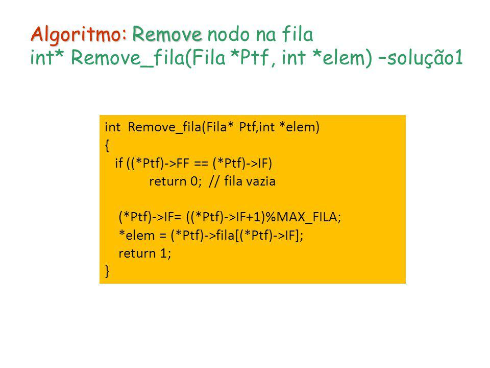 Algoritmo: Remove nodo na fila int. Remove_fila(Fila. Ptf, int