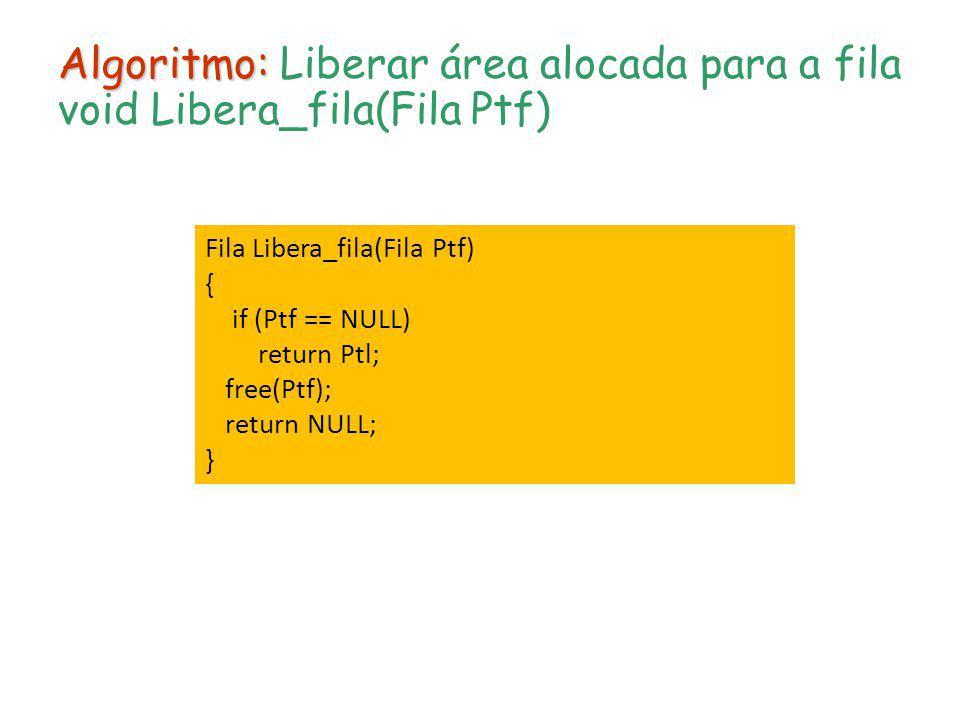 Algoritmo: Liberar área alocada para a fila void Libera_fila(Fila Ptf)