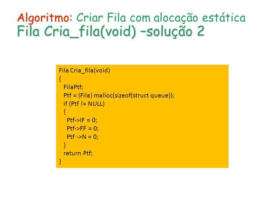 Algoritmo: Criar Fila com alocação estática Fila Cria_fila(void) –solução 2