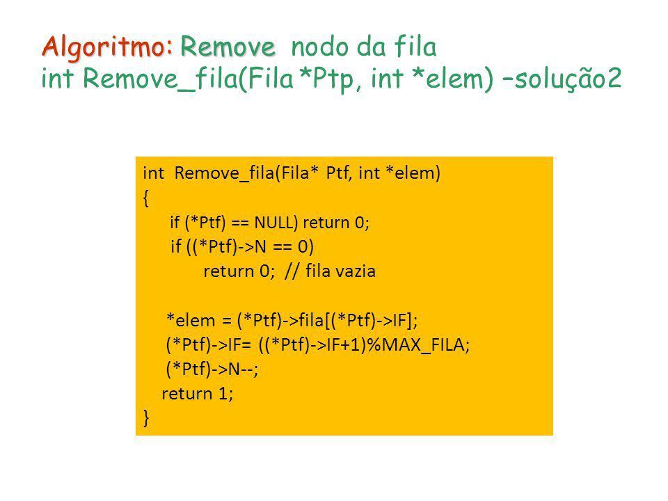 Algoritmo: Remove nodo da fila int Remove_fila(Fila. Ptp, int