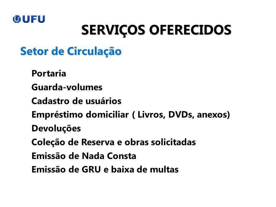 SERVIÇOS OFERECIDOS Portaria Guarda-volumes Cadastro de usuários