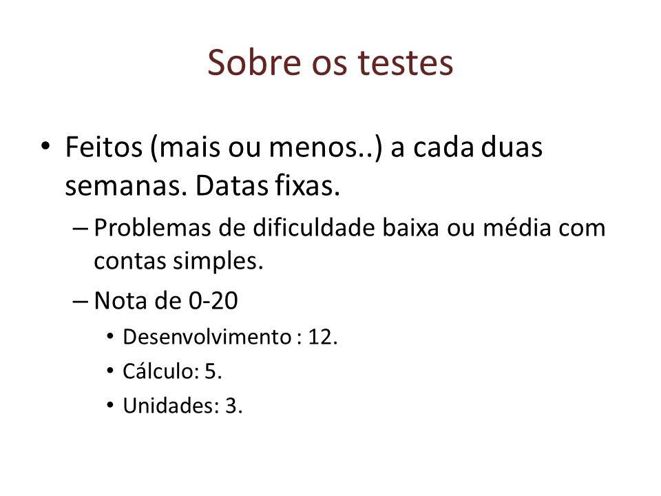 Sobre os testes Feitos (mais ou menos..) a cada duas semanas. Datas fixas. Problemas de dificuldade baixa ou média com contas simples.