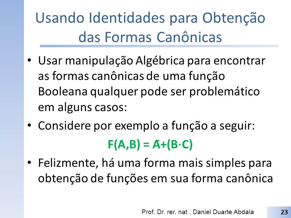 Usando Identidades para Obtenção das Formas Canônicas