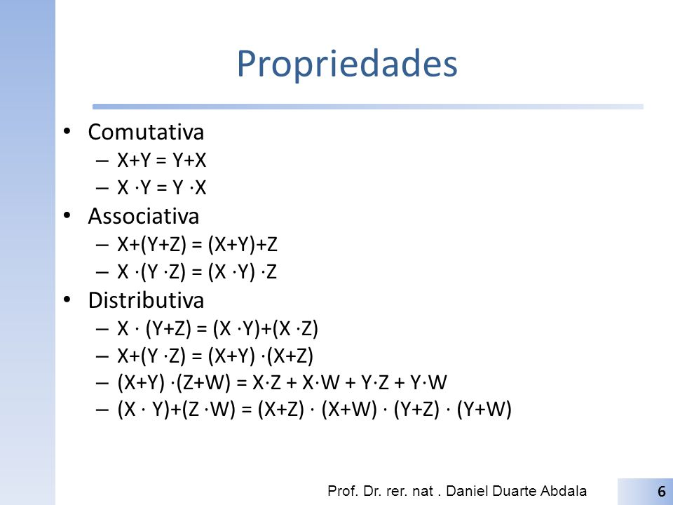 Propriedades Comutativa Associativa Distributiva X+Y = Y+X X ⋅Y = Y ⋅X