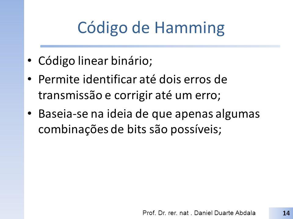 Código de Hamming Código linear binário;