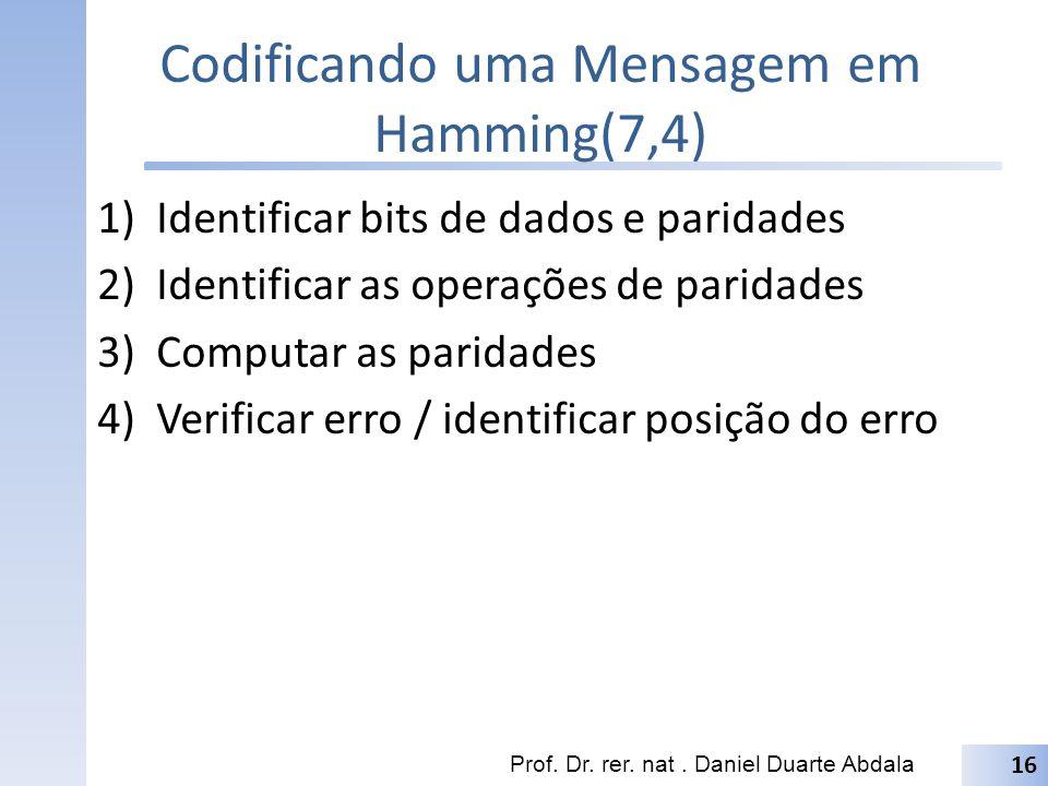 Codificando uma Mensagem em Hamming(7,4)