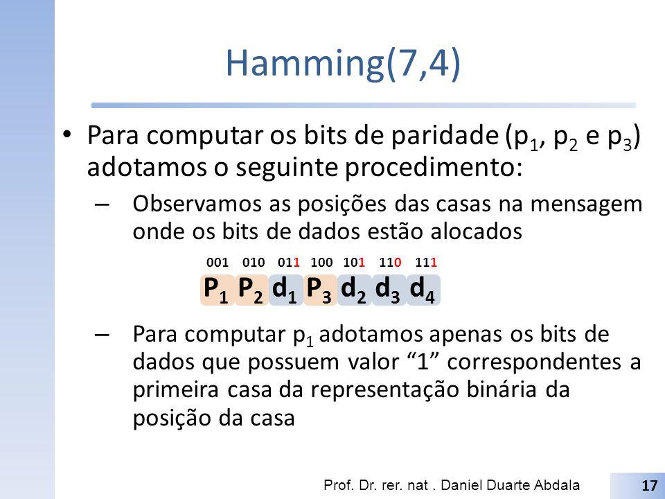 Hamming(7,4) Para computar os bits de paridade (p1, p2 e p3) adotamos o seguinte procedimento: