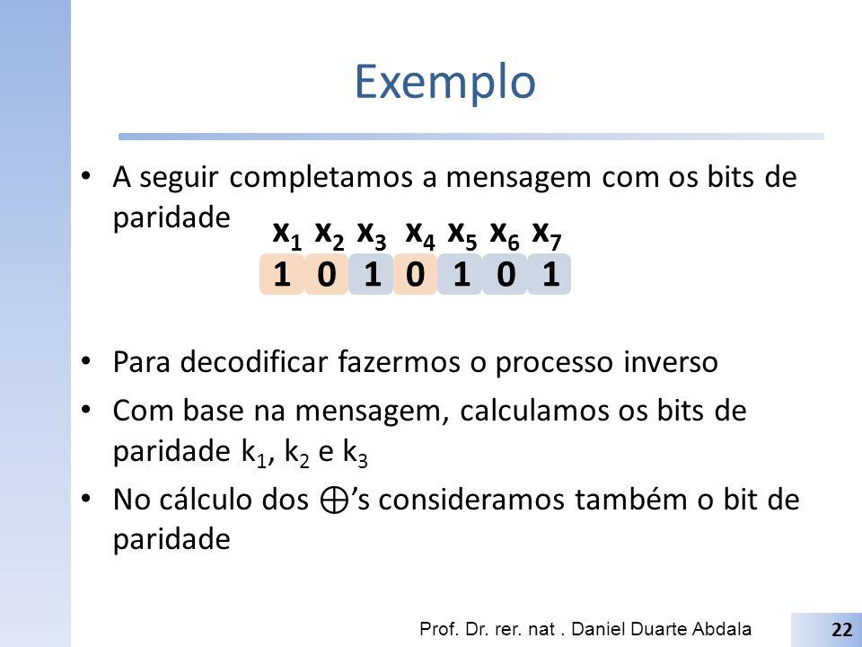 Exemplo A seguir completamos a mensagem com os bits de paridade. Para decodificar fazermos o processo inverso.
