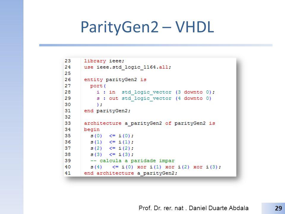 ParityGen2 – VHDL Prof. Dr. rer. nat . Daniel Duarte Abdala