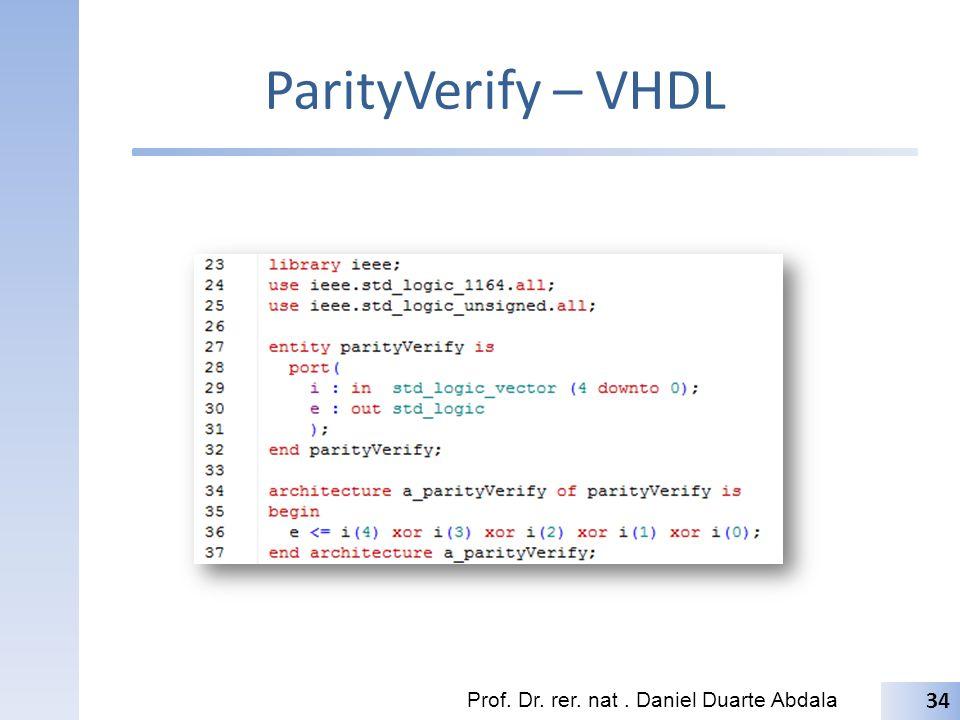 ParityVerify – VHDL Prof. Dr. rer. nat . Daniel Duarte Abdala