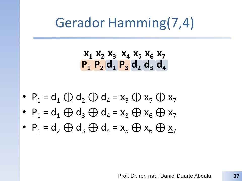 Gerador Hamming(7,4) P1 = d1 ⊕ d2 ⊕ d4 = x3 ⊕ x5 ⊕ x7