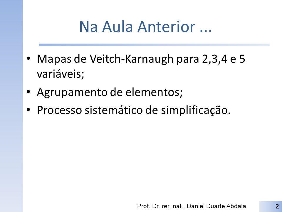 Na Aula Anterior ... Mapas de Veitch-Karnaugh para 2,3,4 e 5 variáveis; Agrupamento de elementos; Processo sistemático de simplificação.