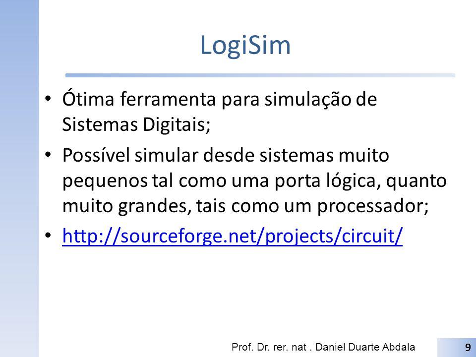 LogiSim Ótima ferramenta para simulação de Sistemas Digitais;