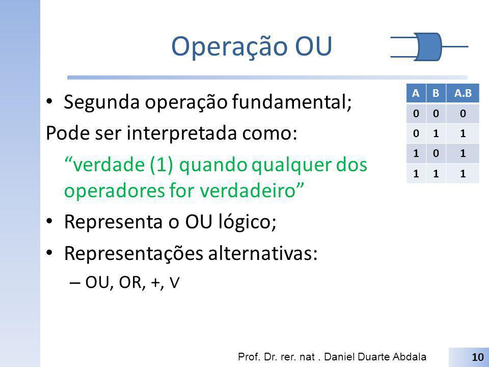 Operação OU Segunda operação fundamental; Pode ser interpretada como: