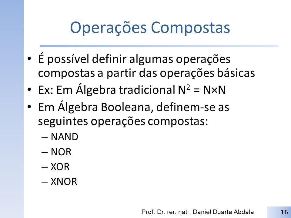 Operações Compostas É possível definir algumas operações compostas a partir das operações básicas. Ex: Em Álgebra tradicional N2 = N×N.