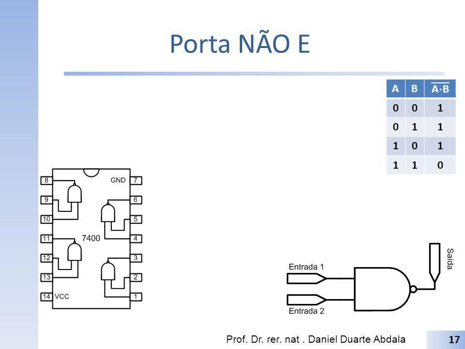 Porta NÃO E A B A⋅B 1 Prof. Dr. rer. nat . Daniel Duarte Abdala