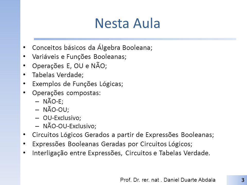 Nesta Aula Conceitos básicos da Álgebra Booleana;