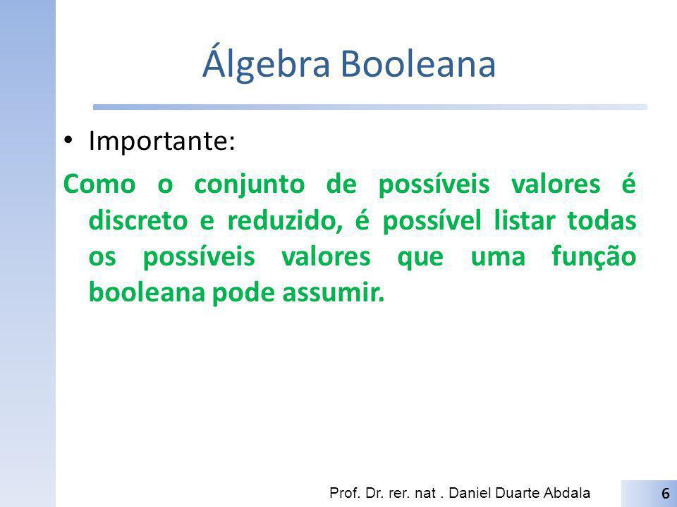 Álgebra Booleana Importante: