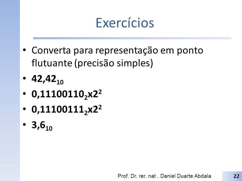Exercícios Converta para representação em ponto flutuante (precisão simples) 42,4210. 0,111001102x22.