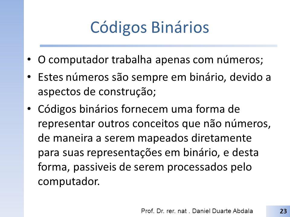 Códigos Binários O computador trabalha apenas com números;