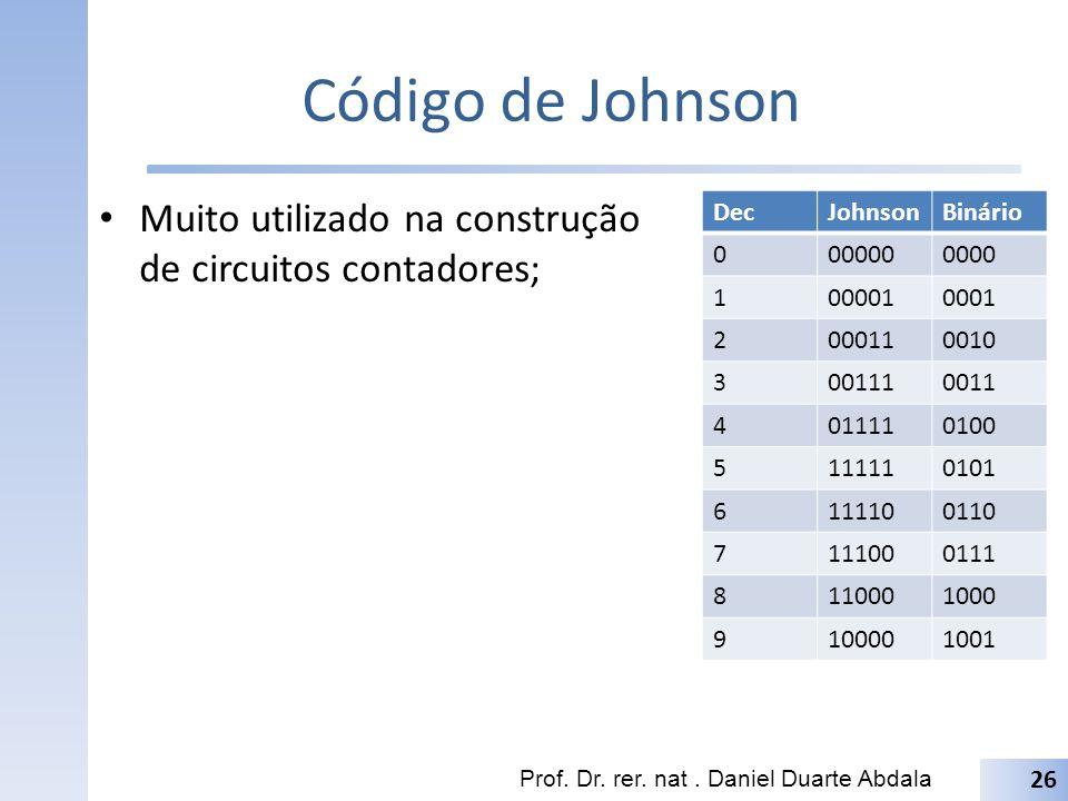Código de Johnson Muito utilizado na construção de circuitos contadores; Dec. Johnson. Binário. 00000.