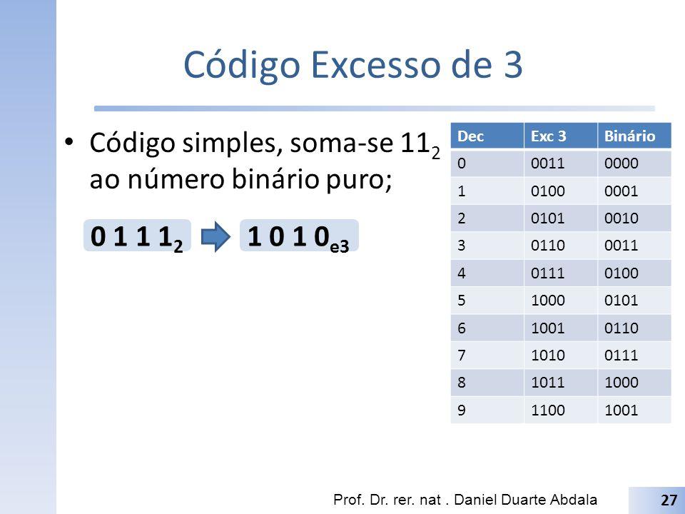 Código Excesso de 3 Código simples, soma-se 112 ao número binário puro; Dec. Exc 3. Binário. 0011.