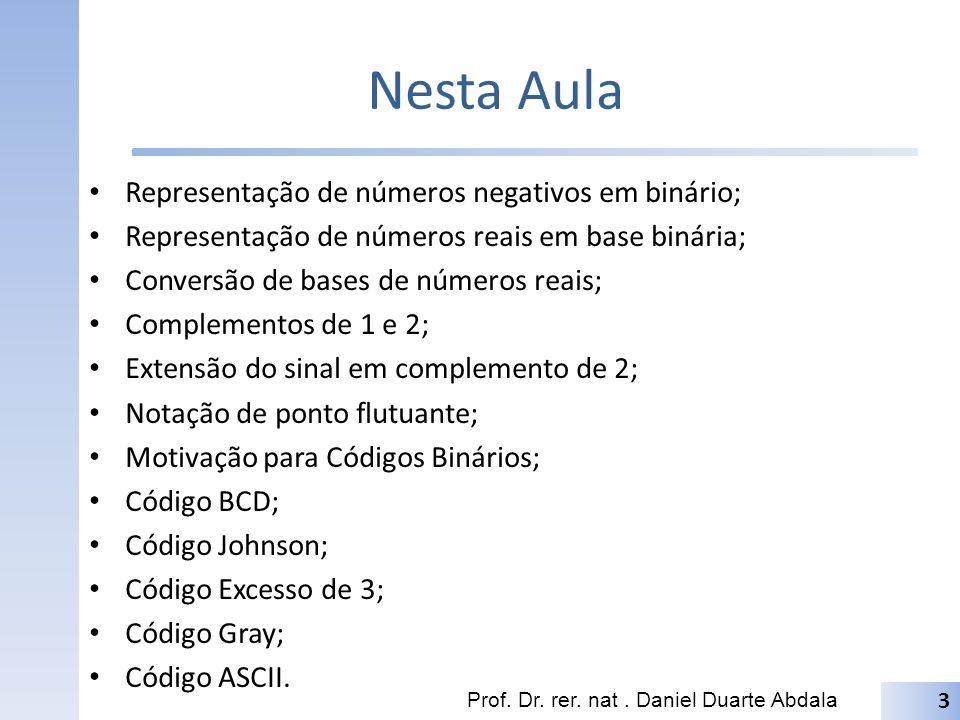 Nesta Aula Representação de números negativos em binário;