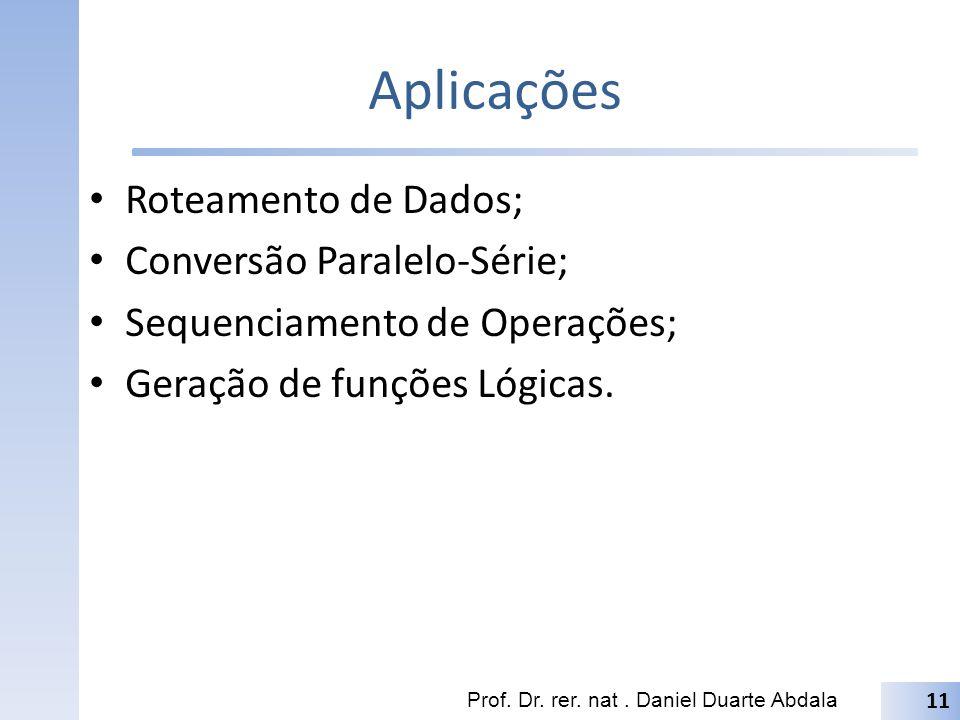 Aplicações Roteamento de Dados; Conversão Paralelo-Série;