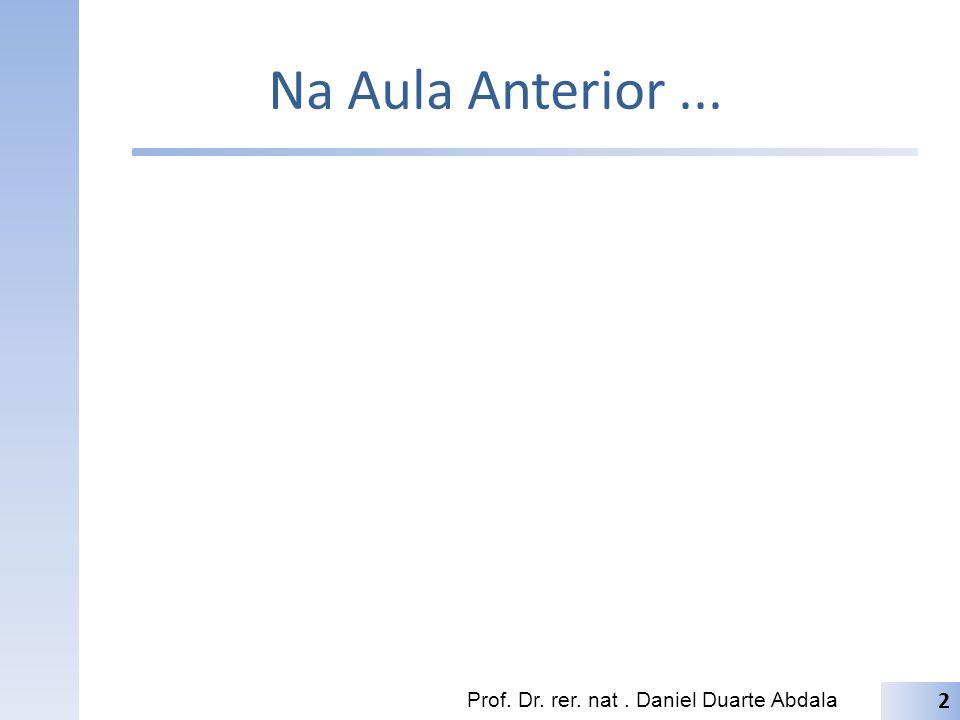 Na Aula Anterior ... Prof. Dr. rer. nat . Daniel Duarte Abdala