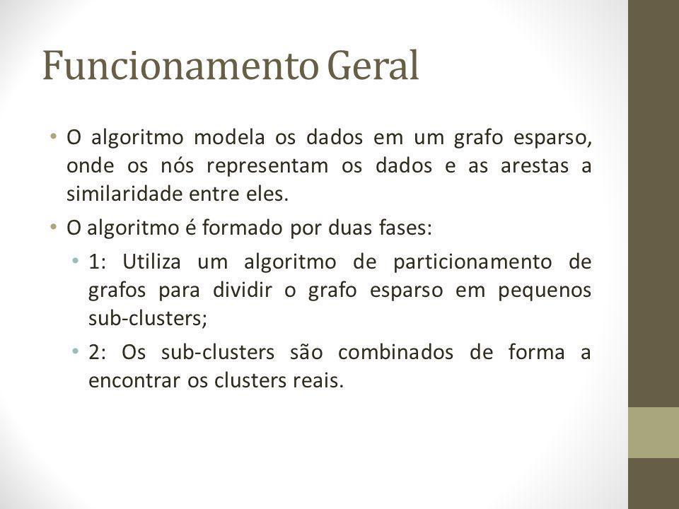 Funcionamento Geral O algoritmo modela os dados em um grafo esparso, onde os nós representam os dados e as arestas a similaridade entre eles.