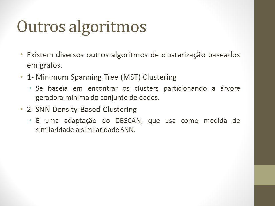 Outros algoritmos Existem diversos outros algoritmos de clusterização baseados em grafos. 1- Minimum Spanning Tree (MST) Clustering.