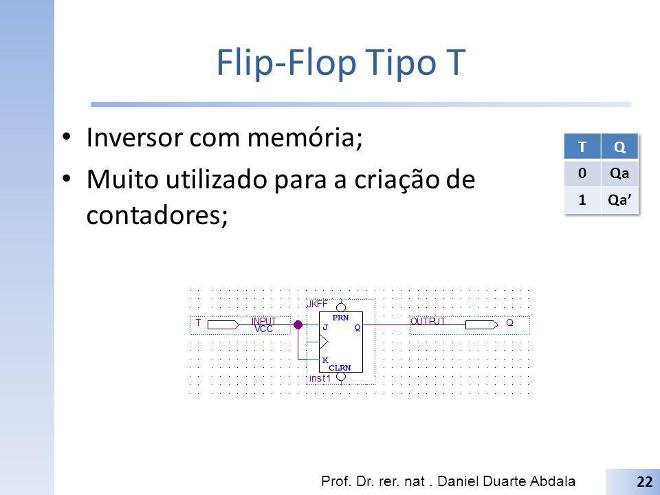 Flip-Flop Tipo T Inversor com memória;