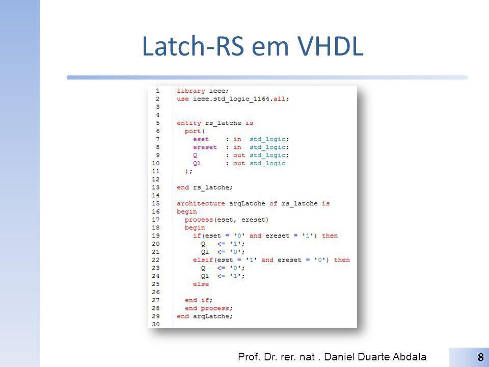 Latch-RS em VHDL Prof. Dr. rer. nat . Daniel Duarte Abdala