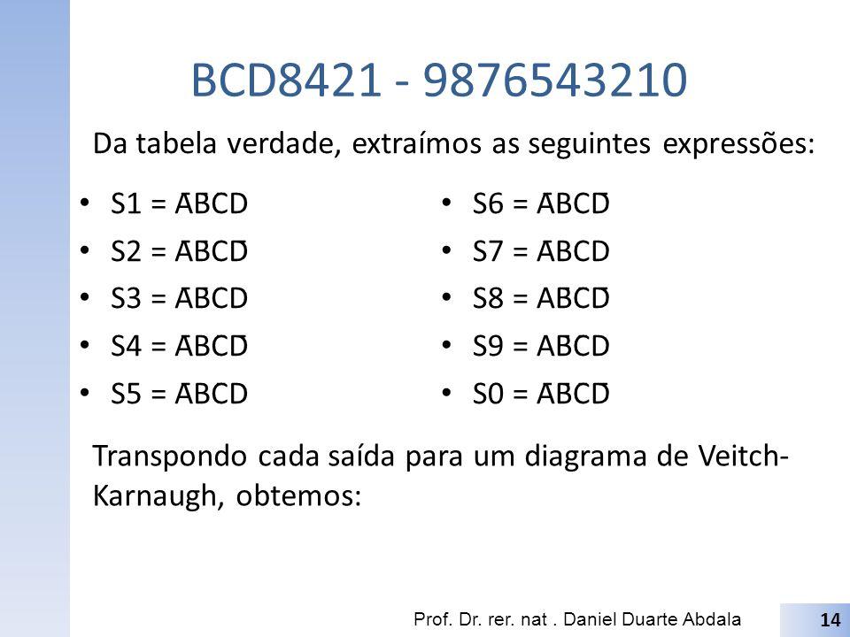 BCD8421 - 9876543210 Da tabela verdade, extraímos as seguintes expressões: S1 = ĀB̄C̄D. S2 = ĀB̄CD̄