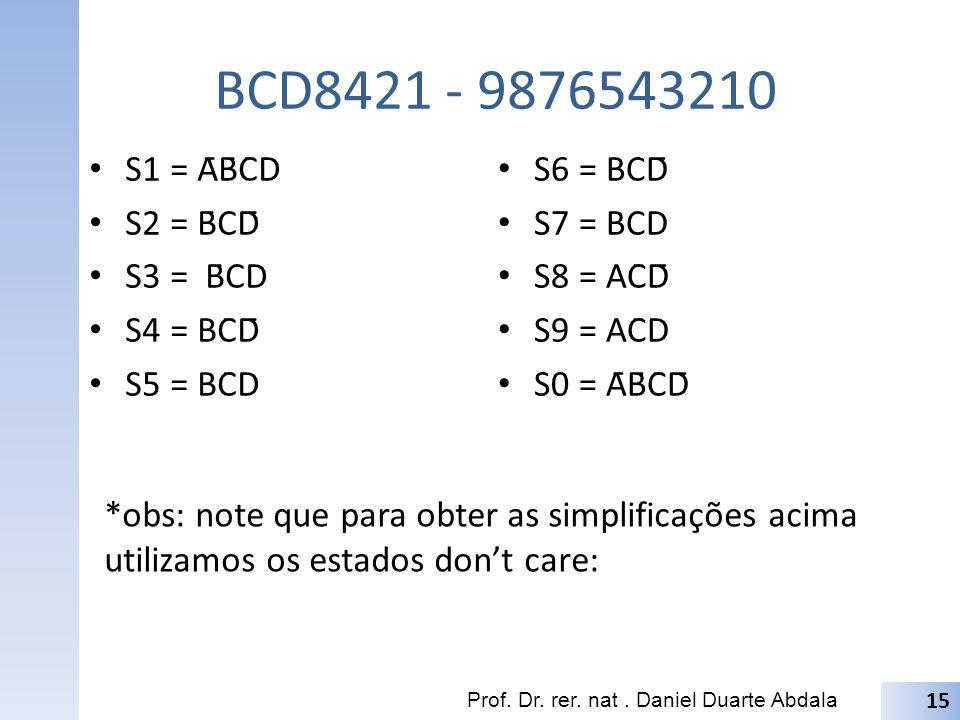 BCD8421 - 9876543210 S1 = ĀB̄C̄D S2 = B̄CD̄ S3 = B̄CD S4 = BC̄D̄