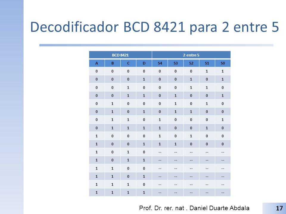 Decodificador BCD 8421 para 2 entre 5