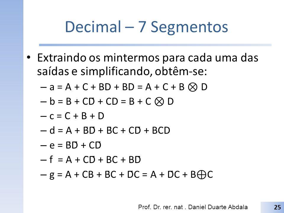 Decimal – 7 Segmentos Extraindo os mintermos para cada uma das saídas e simplificando, obtêm-se: a = A + C + BD + BD = A + C + B ⊗ D.