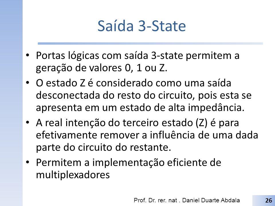 Saída 3-State Portas lógicas com saída 3-state permitem a geração de valores 0, 1 ou Z.