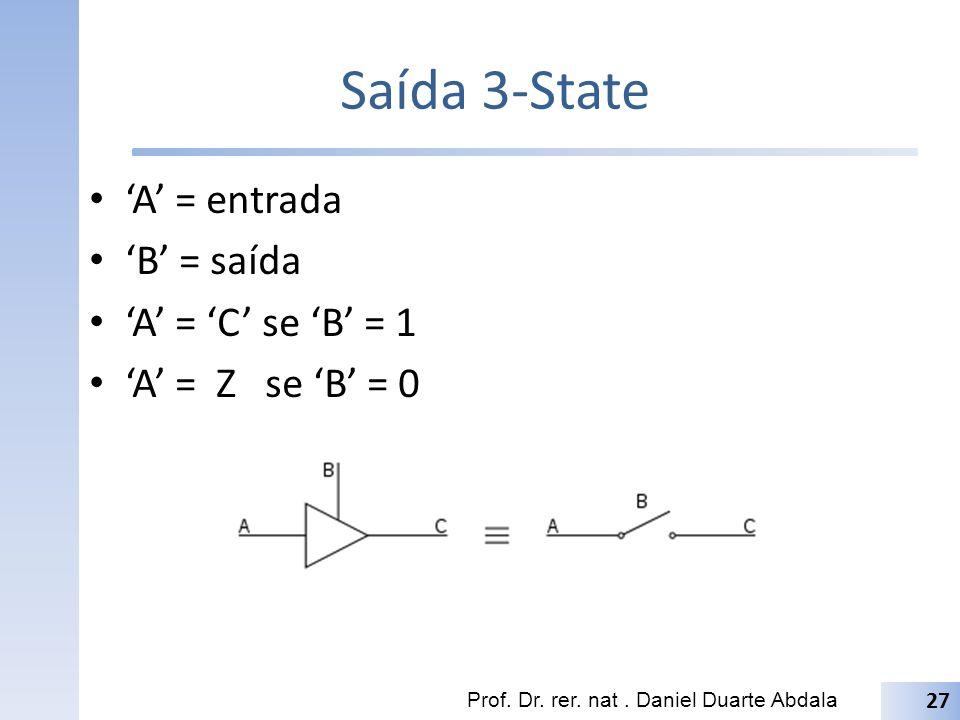 Saída 3-State 'A' = entrada 'B' = saída 'A' = 'C' se 'B' = 1