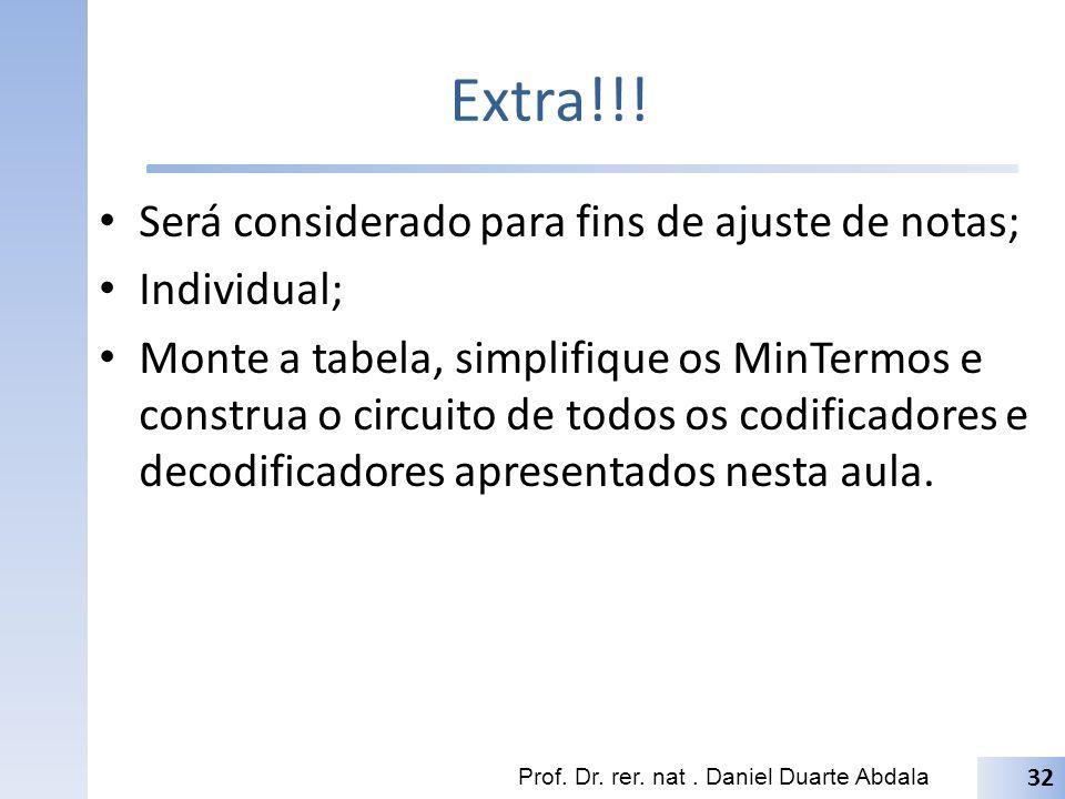 Extra!!! Será considerado para fins de ajuste de notas; Individual;
