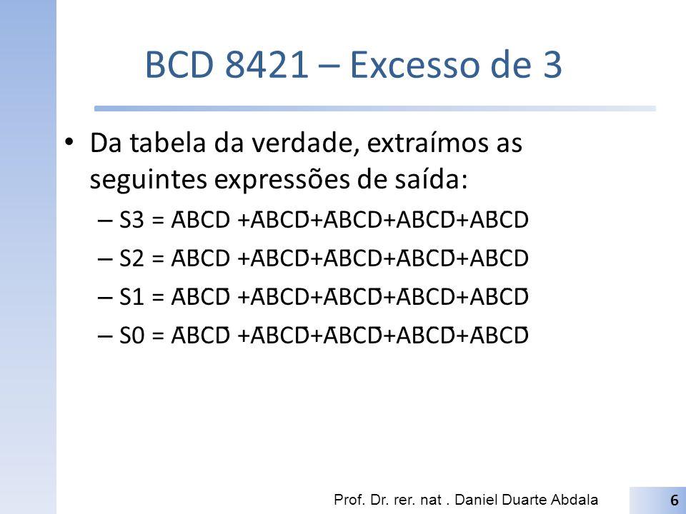 BCD 8421 – Excesso de 3 Da tabela da verdade, extraímos as seguintes expressões de saída: S3 = ĀBC̄D +ĀBCD̄+ĀBCD+AB̄C̄D̄+AB̄C̄D.