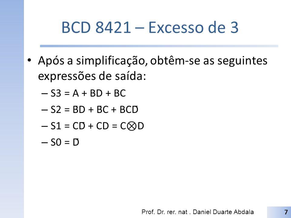 BCD 8421 – Excesso de 3 Após a simplificação, obtêm-se as seguintes expressões de saída: S3 = A + BD + BC.