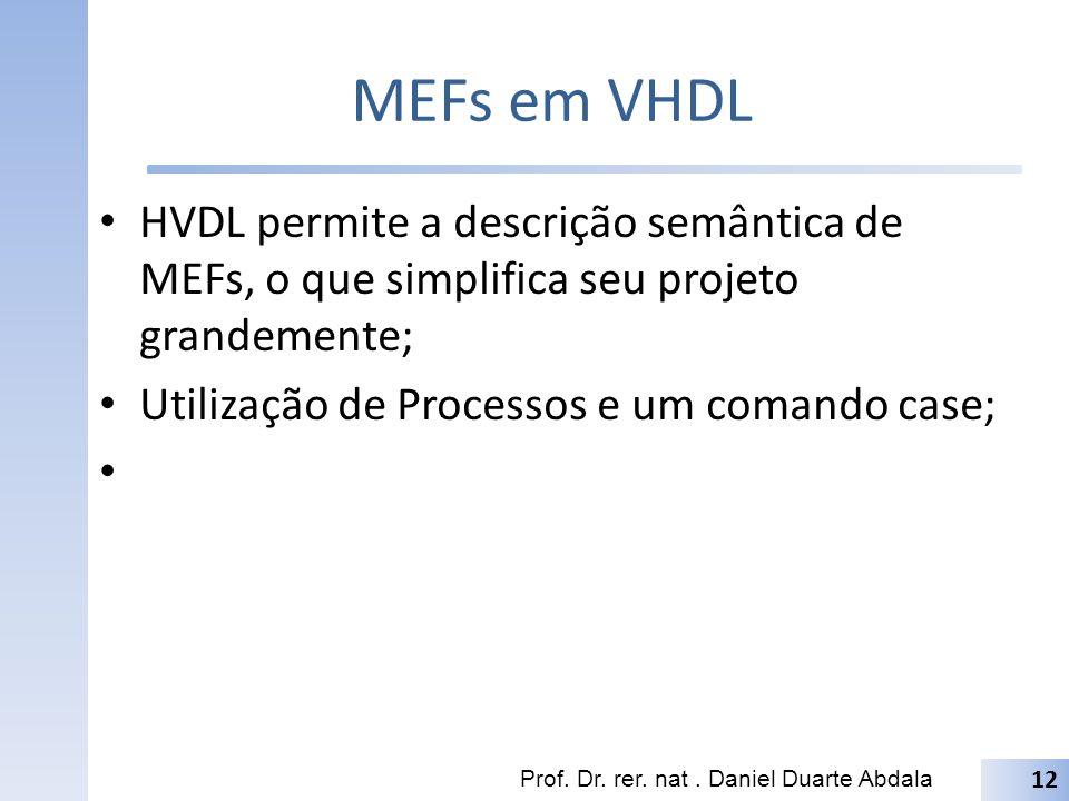 MEFs em VHDL HVDL permite a descrição semântica de MEFs, o que simplifica seu projeto grandemente; Utilização de Processos e um comando case;