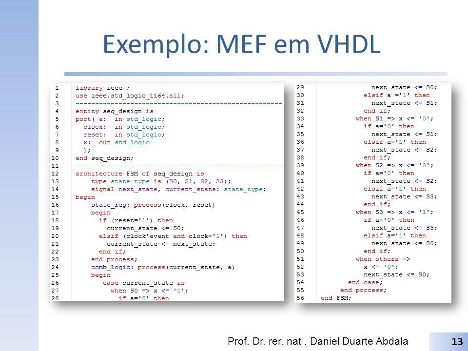 Exemplo: MEF em VHDL Prof. Dr. rer. nat . Daniel Duarte Abdala