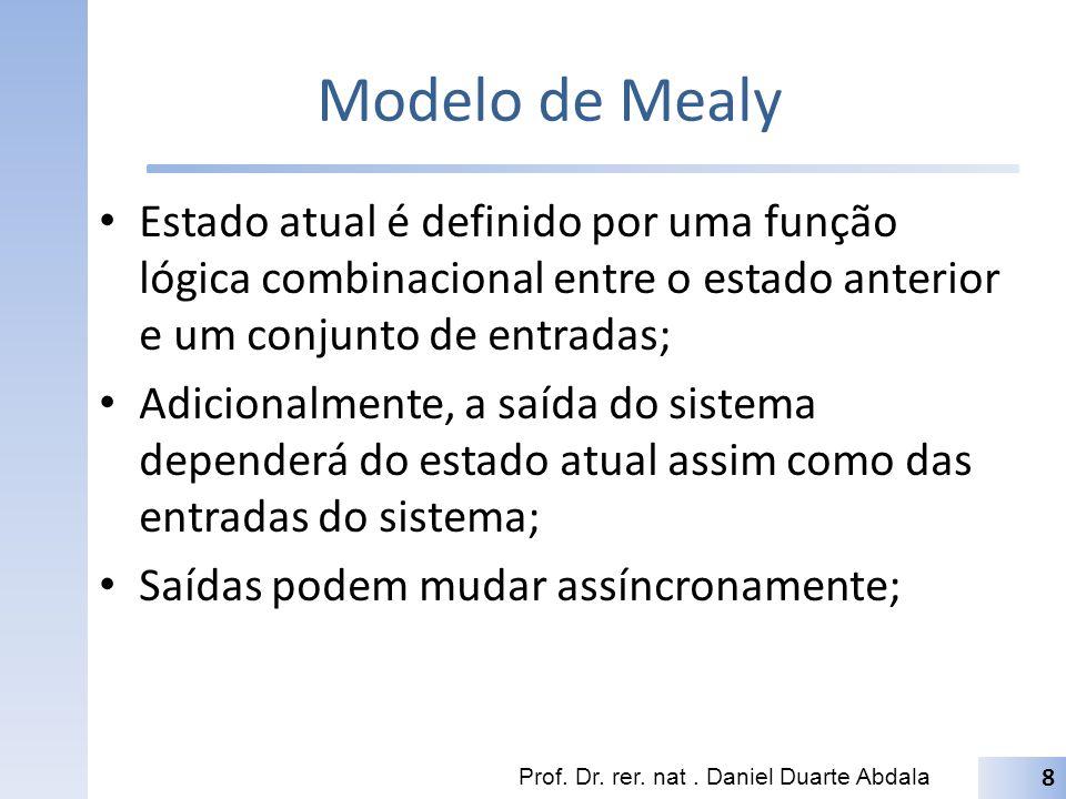 Modelo de Mealy Estado atual é definido por uma função lógica combinacional entre o estado anterior e um conjunto de entradas;